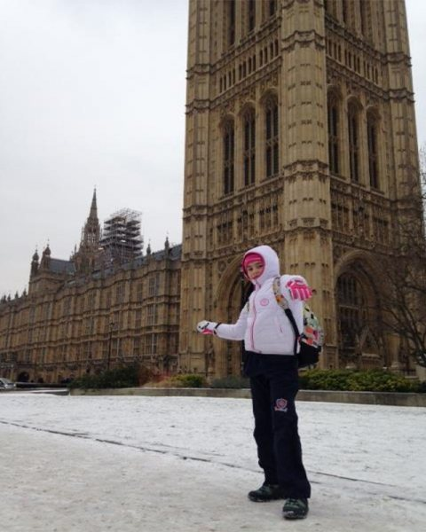 Outside The Palace of Westminster In the Freezing Snow this afternoon
